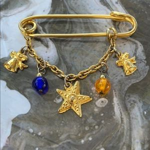 VINTAGE Gold Tone Star Bells Holiday Pin Brooch